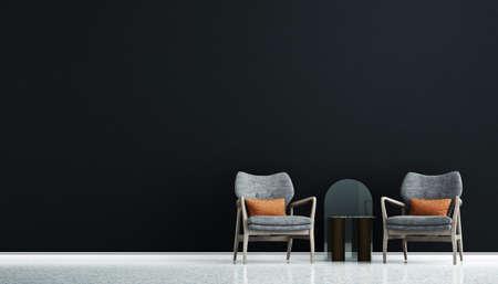 Modern loft interior design mock up of living room and black wall pattern background/3D rendering Archivio Fotografico