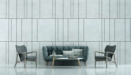 Modern cozy interior design mock up of living room and random concrete wall pattern background/3D rendering