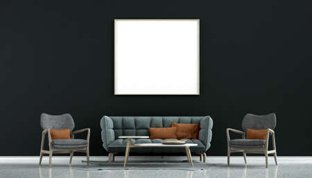 minimal cozy interior design mock up of living room and black wall pattern background/3D rendering