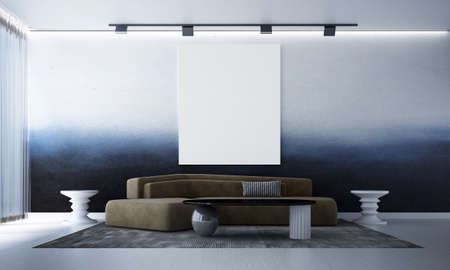 Modern cozy interior design mock up of living room and blue wall pattern background/3D rendering Archivio Fotografico