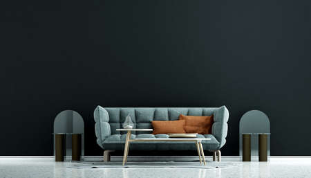 Modern cozy interior design mock up of living room and black wall pattern background/3D rendering Archivio Fotografico
