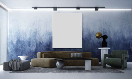 Modern lounge interior design mock up of living room and blue wall pattern background/3D rendering