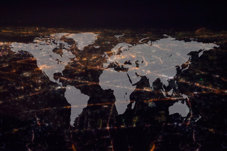 bangkok NIGHT: World Global Cartography Globalization ,Bangkok Night City background Stock Photo