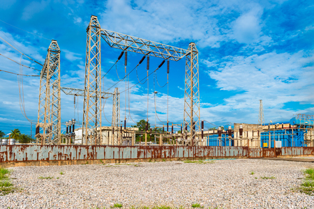megawatt: Electrical Substation in sky background Stock Photo