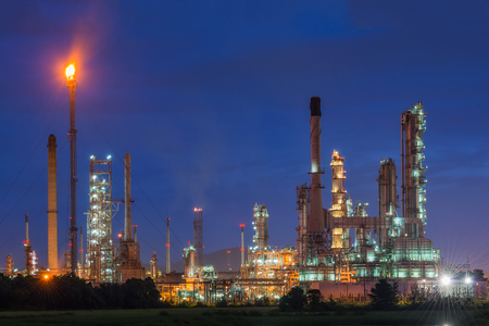 Oil refinery or petroleum refinery industry in industrial estate, industrial process plant where crude oil is processed and refined into more useful products. Oil refineries use much of the technology Stock Photo