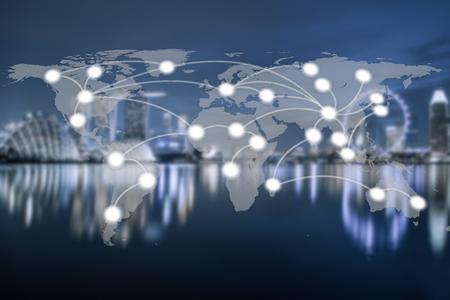 シンガポール市と世界グローバル ネットワーク地図作成グローバル化はぼやけて背景 (NASA から提供されたこのイメージの要素) 写真素材