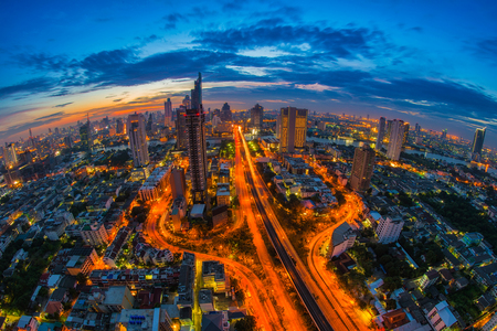 Aerial view of cityscape at twilight, Bangkok, Thailand. The Bangkok view in business district. Stock Photo