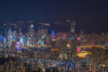 香港の都市景観夜