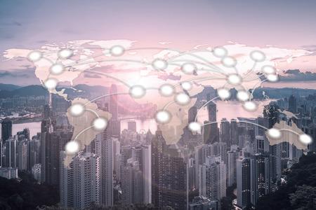 香港都市背景 (NASA から提供されたこのイメージの要素) を持つ世界グローバル ネットワーク地図作成グローバル化 写真素材