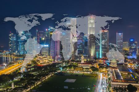 都市の景観シンガポール パノラマ泊コンセプトと世界グローバル ネットワーク地図作成グローバル化