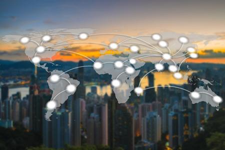 香港市街と世界グローバル ネットワーク地図作成グローバル化はぼやけて背景 (NASA から提供されたこのイメージの要素)