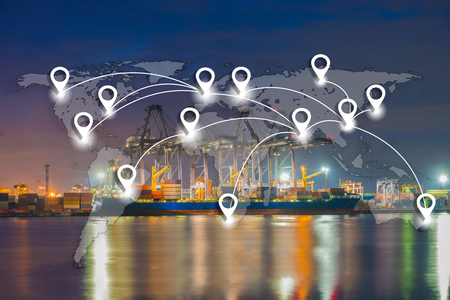 Map pin flat network conection on world global logistics and transportation connection of industrial port with containers cargo ship background (Elements of this image furnished by NASA) Standard-Bild