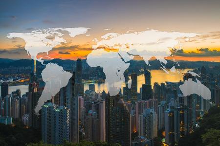 香港の街の背景の世界グローバル ネットワーク地図作成グローバル化 写真素材