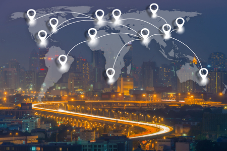 conection: Map pin flat network conection on world global Cartography Globalization with cityscape business district background. Stock Photo