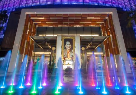 publicly: portaits of Thai Queen Sirikit adorns a building in the city in Bangkok, Thailand. Portraits of the queen are publicly displayed throughout Thailand.