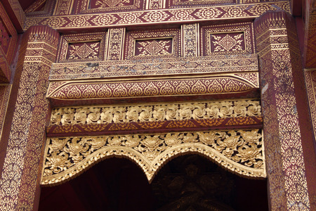 gable: Details, Thai Buddhist Temple  Gable - Chiang Mai, Thailand Stock Photo