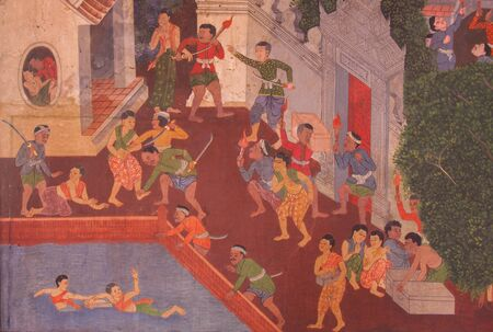 public domain: Beautiful Mural Painting, which is public domain or treasure of Buddhism, is painted on the wall of Emerald Buddha Temple in Bangkok, Thailand. Editorial