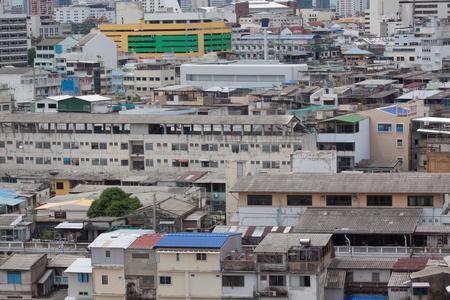 squalid: Poor home or slums facade in Bangkok city, Thailand Stock Photo