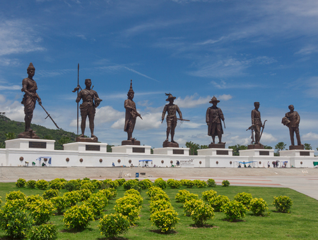 king of thailand: Ratchapak Park and the statues of seven former Thai kings were constructed by the Royal Thai Army under royal permission from His Majesty King Bhumibol Adulyadej. Editorial
