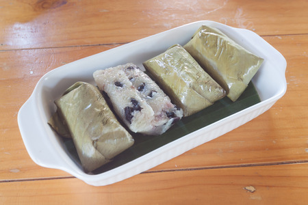 mush: Thai Sweets bunch of mush with banana filling Stock Photo