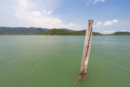 Coconut mooring mast ship. Stock Photo