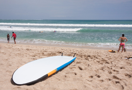 kuta: Surfboards on the famous beach on Kuta in Bali Indonesia Stock Photo