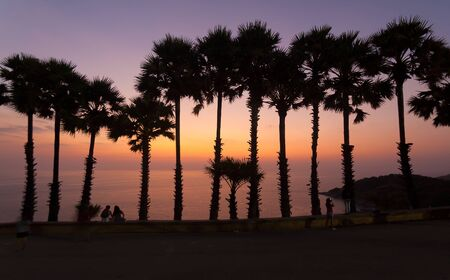 phuket province: Sunset over the sea at Phromthep Cape, Phuket province ,Thailand