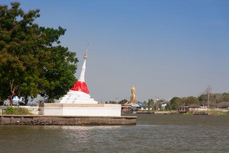 nontaburi: White pagoda at Koh Kred Nontaburi Thailand