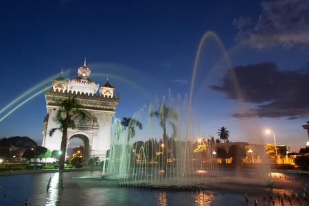 commemorate: Patuxai, a memorial monument, in Vientiane, Laos