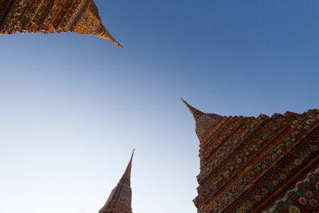 Three pagoda at Wat Pho Temple in bangkok, Thailand