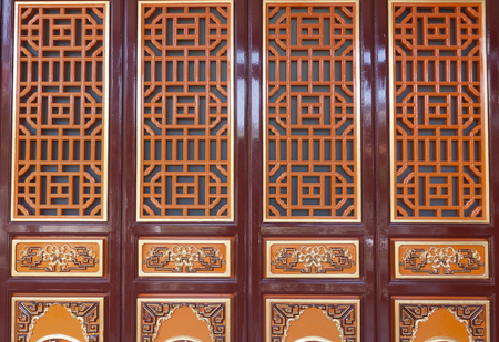 ancient pass: Traditional door of Chinese temple .