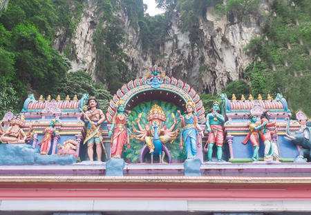 Details of the decorations on the roof of the  Hindu temple at Batu Caves , Malaysia