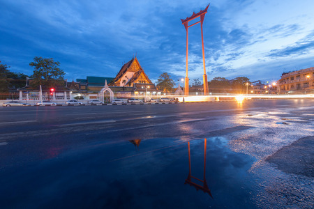 The Giant Swing and Suthat Temple at Twilight Time, in Bangkok Thailand Stock Photo