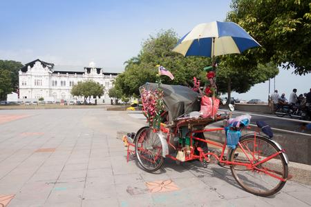 rickety: An old rickety trishaw  in Penang, Malaysia.