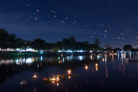 Loy Kratong Festival celebrated during the full moon of the 12th month in the traditional Thai calendar. 写真素材