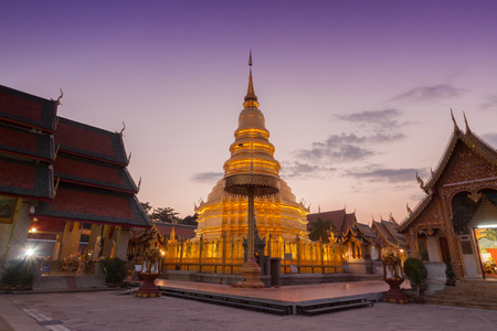 Wat phra that hariphunchai pagoda temple important religious traveling destination in lumphun province northern of thailand