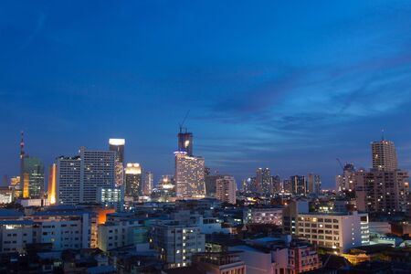 Bangkok city and business urban downtown of Thailand