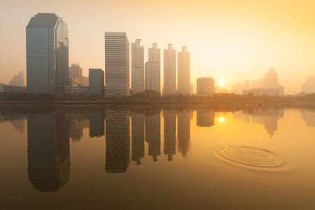Morning at the business district from Benjakiti Park 