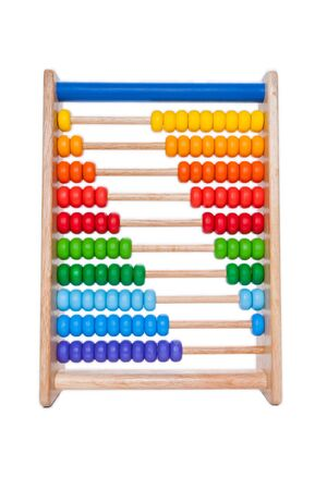 enumeration: wooden abacus on white background