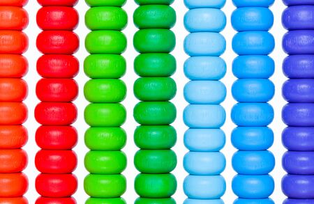 reckon: Close up colorful abacus, old calculator toy