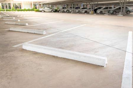 Empty car parking, Car parking lot with white mark, Parking lane outdoor in public park.