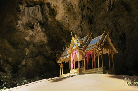 This is the Royal Pavilion in Phraya Nakhon cave, Khao Sam Roi Yod National Park, Prachuap Khiri Khan Province, Thailand. It was built during the period of King Rama 5 of Rattanakosin. Stock Photo