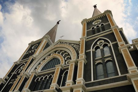This church was built into the Gothic architecture with beautiful stained glass decorations depicting Christian saints.It is claimed to be the most beautiful Catholic Church in Thailand. photo