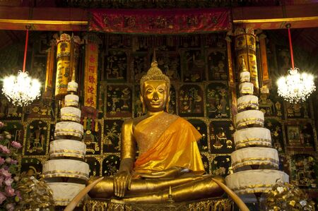 This is a statue of Buddha at Phananchoeng Temple, Ayudhya. photo
