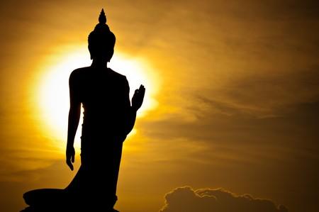 bouddhisme: silhouette de la statue du Bouddha, Tha�lande
