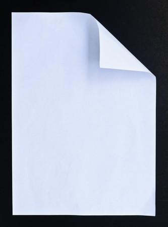 White crumpled paper  black isolation photo