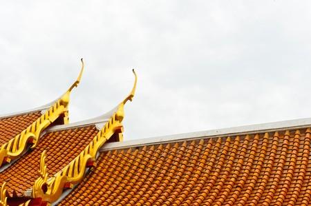 apex: Gable Apex of Marble temple, Bangkok Stock Photo