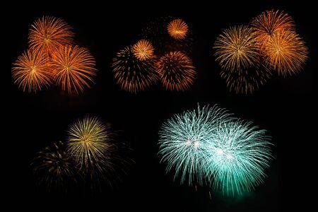 aerial bomb: Compilation of fireworks, Pattaya Beach, Thailand.