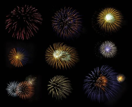 Compilation of fireworks, Pattaya Beach, Thailand. photo