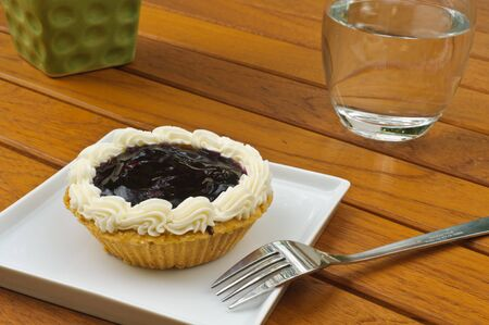 blueberry pie: Blueberry pie on white plate